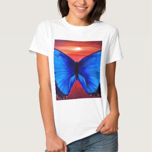 Blue Butterfly Morph Sunset - Multi T Shirts