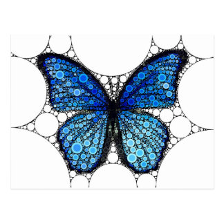 Blue Butterfly Mosaic Postcard