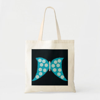 Blue Butterfly on Black Tote Bag