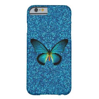 Blue Butterfly On Blue Glitter iPhone 6 Case