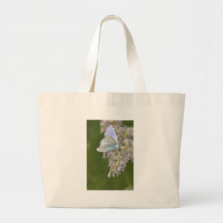 Blue Butterfly on Flower Large Tote Bag