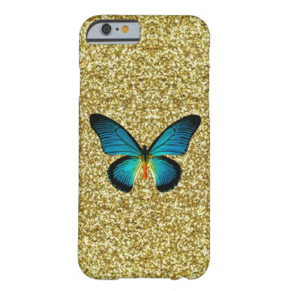 Blue Butterfly On Gold Glitter iPhone 6 Case
