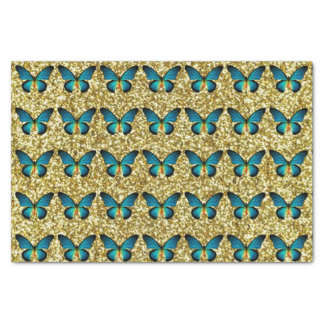 """Blue Butterfly On Gold Glitter Tissue Paper 10"""" X 15"""" Tissue Paper"""