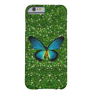 Blue Butterfly On Green Glitter iPhone 6 Case