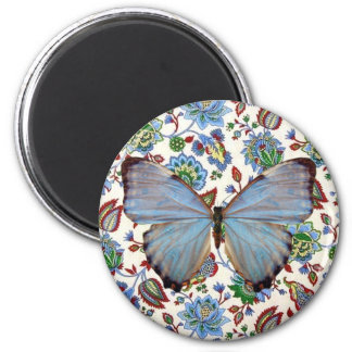 Blue Butterfly on Jacobean Floral 2 Inch Round Magnet
