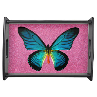 Blue Butterfly On Pink Glitter Serving Tray