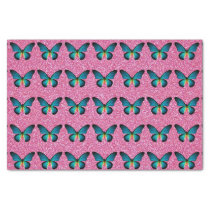Blue Butterfly On Pink Glitter Tissue Paper
