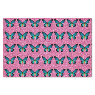 """Blue Butterfly On Pink Glitter Tissue Paper 10"""" X 15"""" Tissue Paper"""