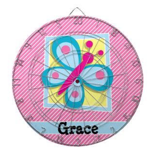 Blue Butterfly on Pink & White Stripes Dart Boards