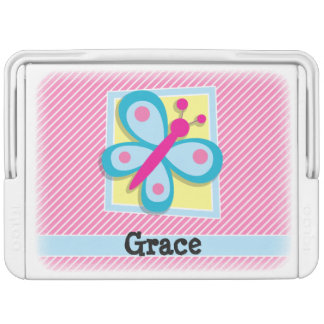 Blue Butterfly on Pink & White Stripes Igloo Drink Cooler