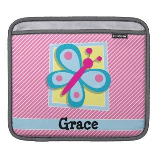 Blue Butterfly on Pink & White Stripes Sleeves For iPads