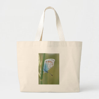 Blue Butterfly on Plant Large Tote Bag