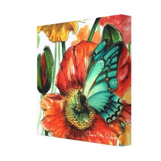 Blue Butterfly on Poppy by Cherie Roe Dirksen Canvas Print