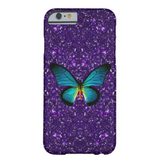 Blue Butterfly On Purple Glitter iPhone 6 Case