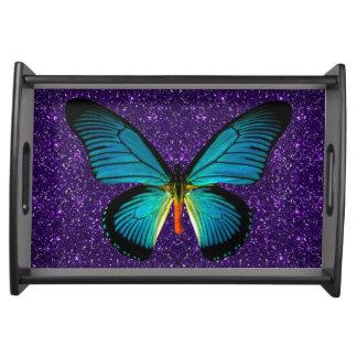 Blue Butterfly On Purple Glitter Serving Tray