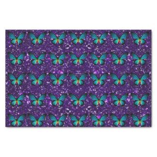 Blue Butterfly On Purple Glitter Tissue Paper
