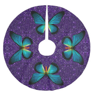 Blue Butterfly On Purple Glitter Tree Skirt