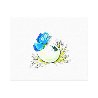 blue butterfly on white egg.png canvas print