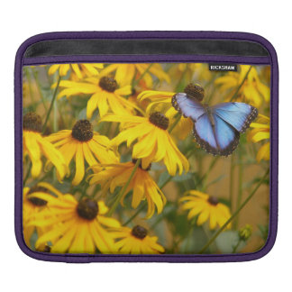 Blue Butterfly on Yellow Flowers Sleeve For iPads