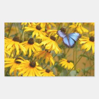 Blue Butterfly on Yellow Flowers Rectangular Sticker