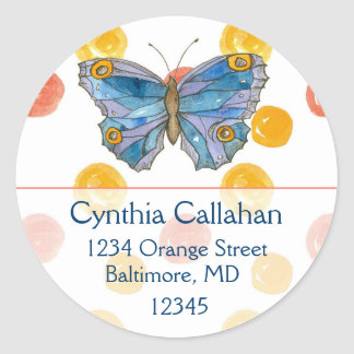 Blue Butterfly Orange Dots Return Address Classic Round Sticker