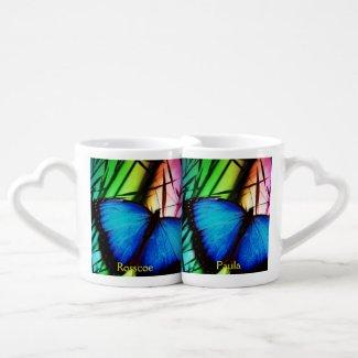 Blue Butterfly Personalised Lovers Mug