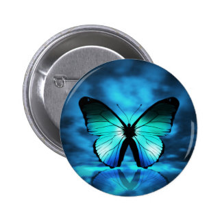 Blue Butterfly Pinback Button