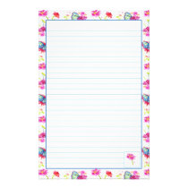 Blue Butterfly Pink Watercolor Flowers Lined Stationery