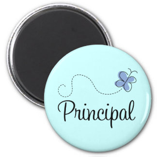 Blue Butterfly Principal Gift 2 Inch Round Magnet