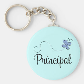 Blue Butterfly Principal Gift Basic Round Button Keychain