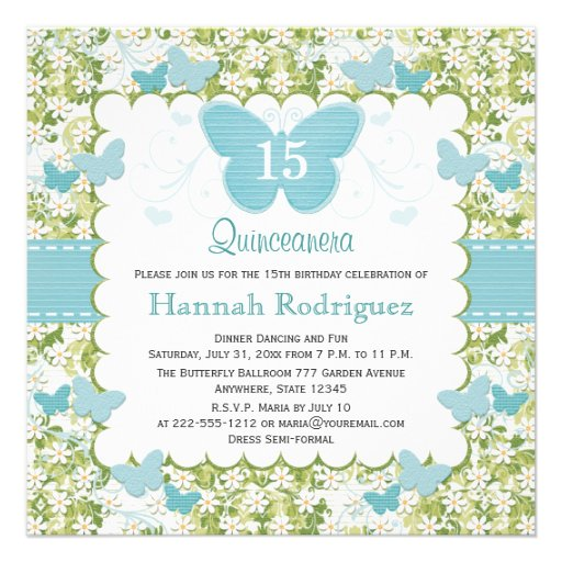 Personalized Butterfly quinceanera Invitations CustomInvitations4Ucom