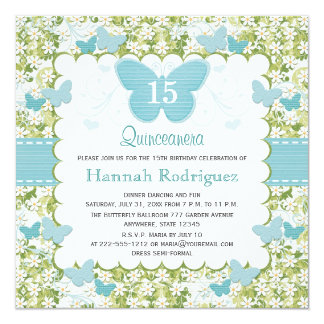 Blue Butterfly Quinceanera Invitations Photo