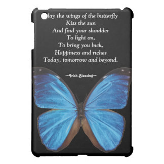Blue Butterfly Quote Black iPad Case