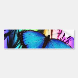 Blue Butterfly Rainbow Car Bumper Sticker
