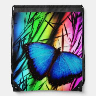 Blue Butterfly Rainbow Drawstring Backpacks