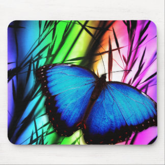 Blue Butterfly Rainbow Mouse Pad