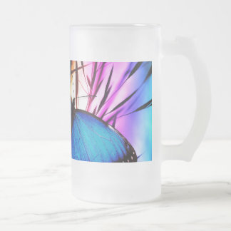 Blue Butterfly Rainbow 16 Oz Frosted Glass Beer Mug