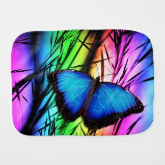 Blue Butterfly Rainbow Burp Cloth