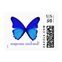 blue butterfly, response enclosed! postage