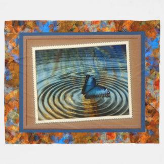 Blue Butterfly Ripple Photography Print Fleece Blanket