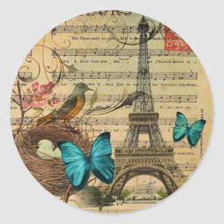 Blue butterfly Robin bird nest Paris Eiffel Tower Classic Round Sticker