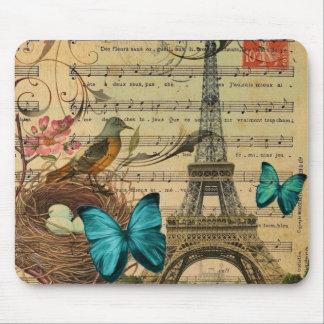 Blue butterfly Robin bird nest Paris Eiffel Tower Mouse Pad