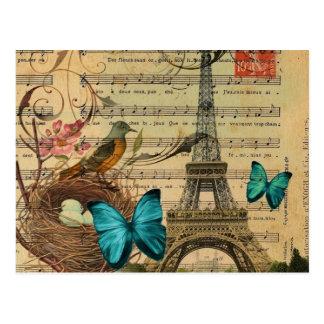 Blue butterfly Robin bird nest Paris Eiffel Tower Postcard