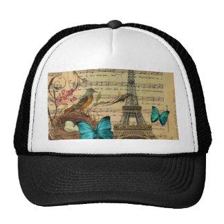 Blue butterfly Robin bird nest Paris Eiffel Tower Trucker Hat