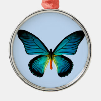 Blue Butterfly Round Ornament