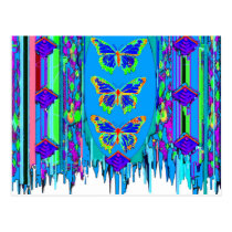 Blue Butterfly Shawl Gifts by Sgarles Postcard