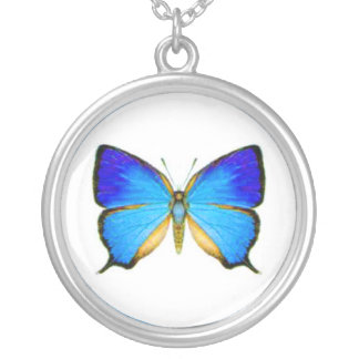 Blue Butterfly Silver Plated Necklace