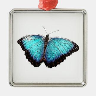 Blue Butterfly Sketch Metal Ornament