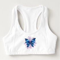 Blue butterfly sports bra