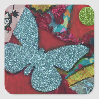Blue Butterfly Square Sticker